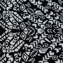 Black & White Aztec Pattern - 100% Viscose Print